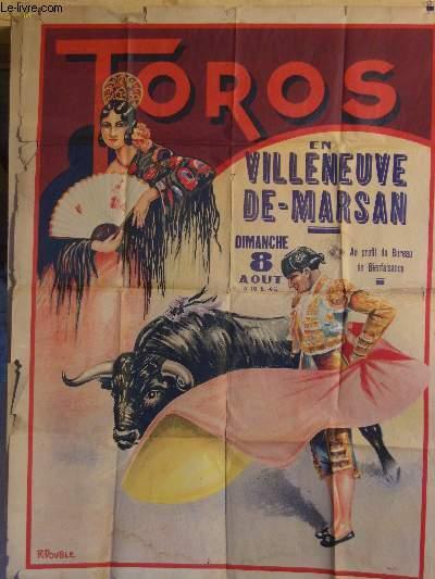 AFFICHE CORRIDA - TOROS EN VILLENEUVE DE MARSAN