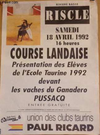 AFFICHE CORRIDA - RISCLE  - COURSE LANDAISE