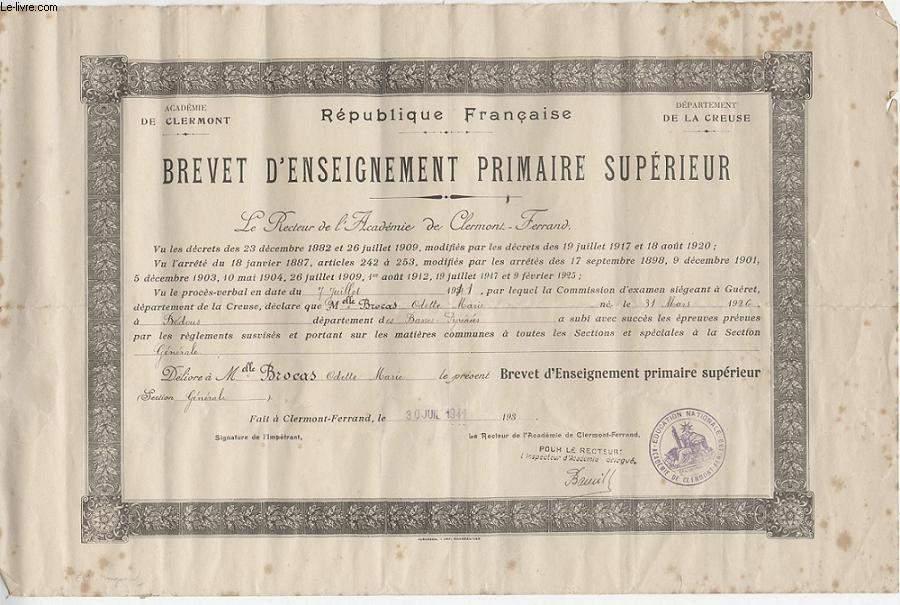 DIPLOME / PRIX - BREVET D'ENSEIGNEMENT PRIMAIRE SUPERIEUR