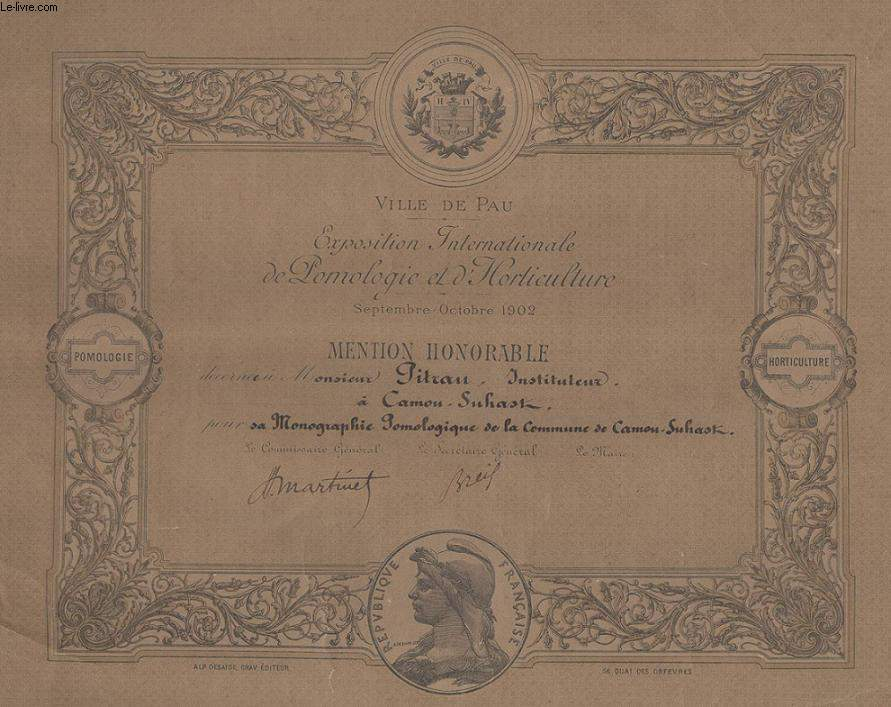 DIPLOME / PRIX - MENTION HONORABLE