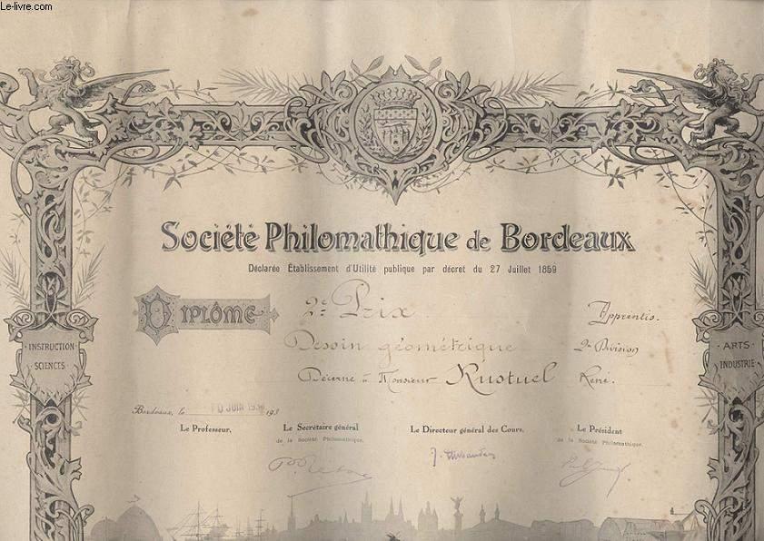 DIPLOME / PRIX - SOCIETE PHILOMATHIQUE DE BORDEAUX