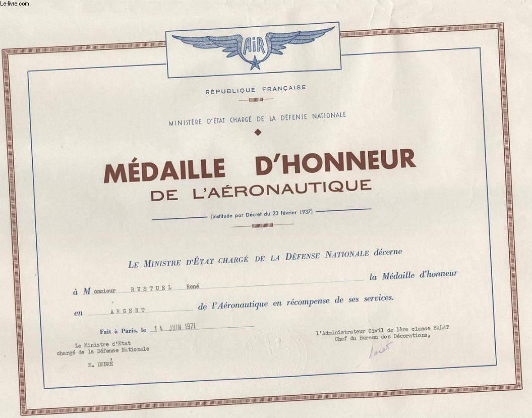 DIPLOME / PRIX - MEDAILLE D'HONNEUR DE L'AERONAUTIQUE