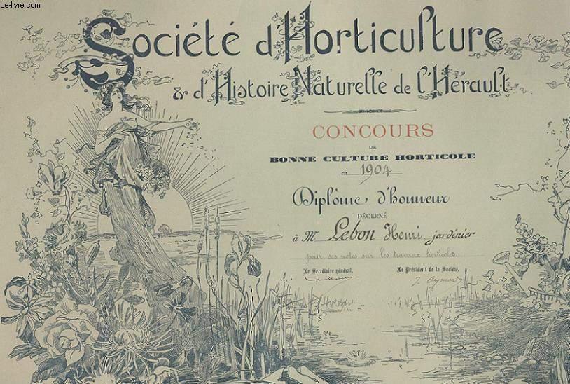 DIPLOME / PRIX - SOCIETE D'HORTICULTURE ET D'HISTOIRE NATURELLE DE L'HERAULT