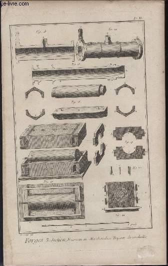 GRAVURE 18EME SIECLE - PLANCHES ORIGINALES DE L'ENCYCLOPEDIE DIDEROT D'ALEMBERT IN FOLIO - N°11 - FORGES - 3° SECTION FOURNEAU EN MARCHANDISE TUYAUX DE CONDUITE