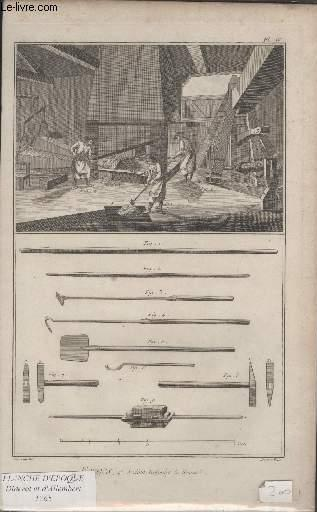 GRAVURE 18EME SIECLE - PLANCHES ORIGINALES DE L'ENCYCLOPEDIE DIDEROT D'ALEMBERT IN FOLIO - N°4 - FORGES - 4° SECTION REFOULER LE RENARD