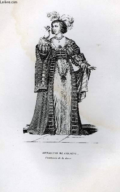GRAVURE 19eme NOIR ET BLANC - HENRIETTE DE COLIGNY