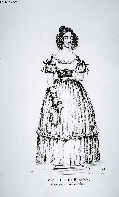 GRAVURE 19eme NOIR ET BLANC - MARIE-CLEMENTINE-CAROLINE-LEOPOLDINE-CLOTIDE D'ORLEANS