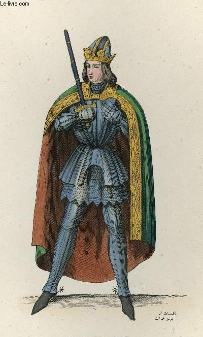 GRAVURE 19eme COULEURS - CHARLEMAGNE