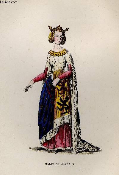GRAVURE 19eme COULEURS - MARIE DE HAINAUT