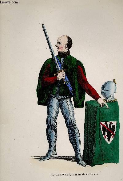 GRAVURE 19eme COULEURS - BERTRAND DUGUESCLIN