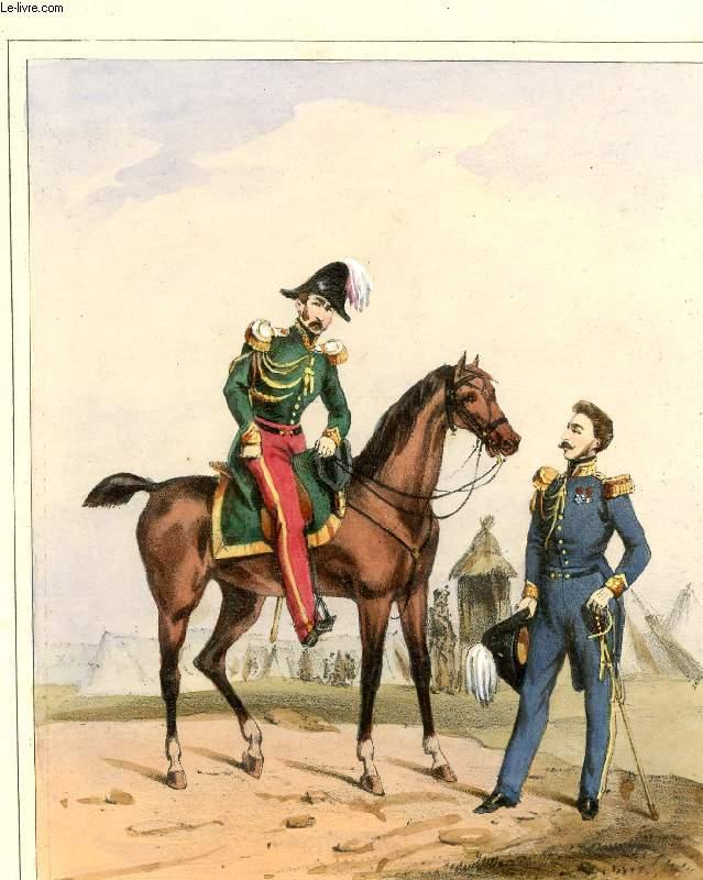 GRAVURE 19eme COULEURS - GALERIE MILITAIRE N°54 - ARMEE BELGE - N°7 - OFFICIER D'ETAT MAJOR