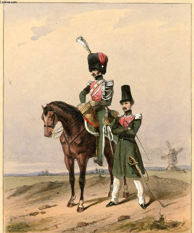 GRAVURE 19eme COULEURS - GALERIE MILITAIRE - N°14 - ARMEE BELGE - N°4 - OFFICIERS DES GUIDES