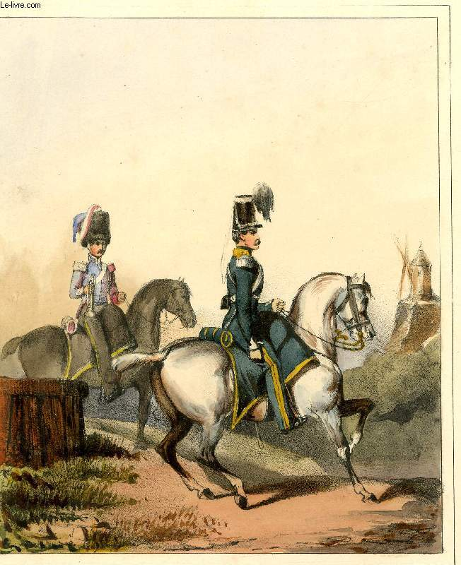GRAVURE 19eme COULEURS - GALERIE MILITAIRE -N°59 - ARMEE BELGE - N°12 - CHASSEURS A CHEVAL 1° REGIMENT