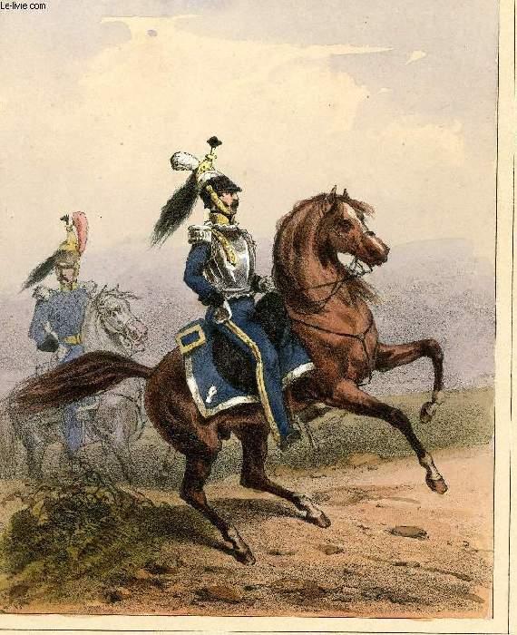 GRAVURE 19eme COULEURS - GALERIE MILITAIRE - N° 69 - ARMEE BELGE - N°14 - OFFICIER DE CUIRASSIERS