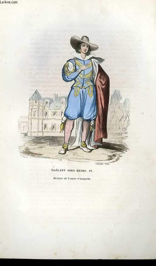 GRAVURES 19eme COULEURS ELEGANT SOUS HENRI IV
