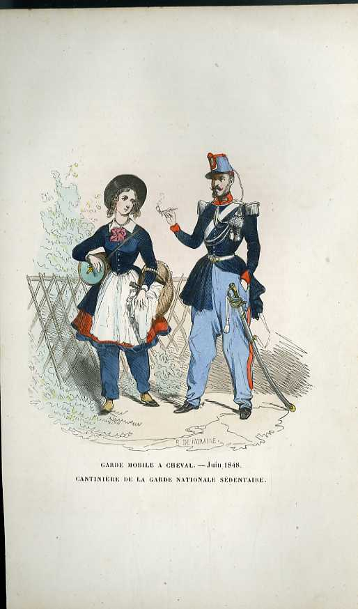 GRAVURES 19eme COULEURS - GARDE MOBILE A CHEVAL - JUIN 1848 - CANTINIERE DE LA GARDE NATIONALE SEDETNAIRE