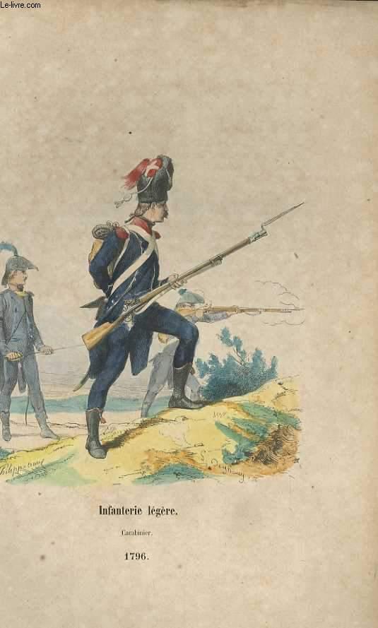 GRAVURES 19eme COULEURS - INFANTERIE LEGERE - CARABINIER - 1796
