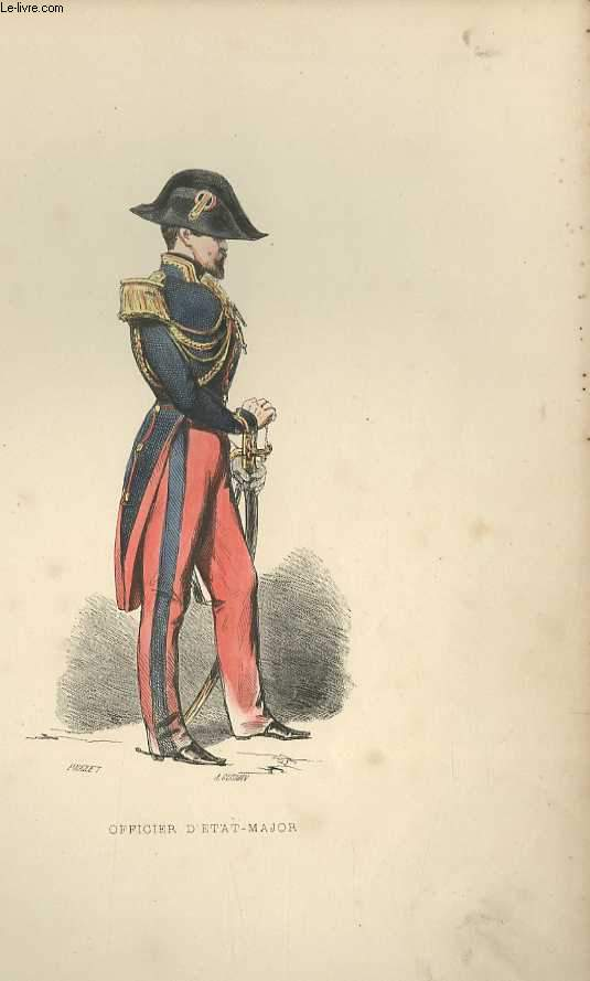 GRAVURES 19eme COULEURS - OFFICIER D'ETAT-MAJOR