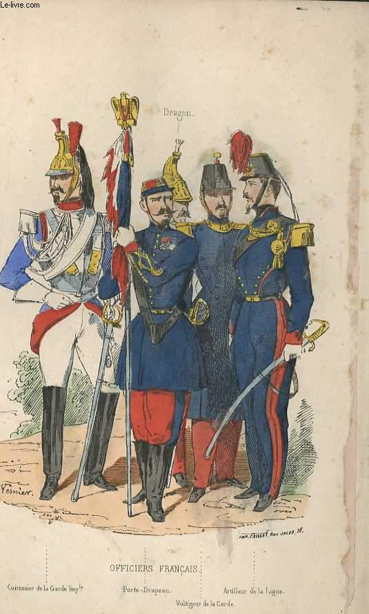 GRAVURES 19eme COULEURS - OFFICIERS FRANCAIS