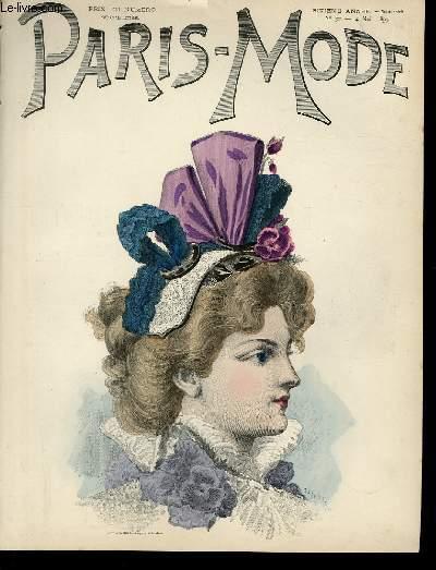 GRAVURE 19eme COULEURS - PARIS-MODE - 6° ANNEE - N°32 - TETE DE DAME ENCHAPEAUTEE