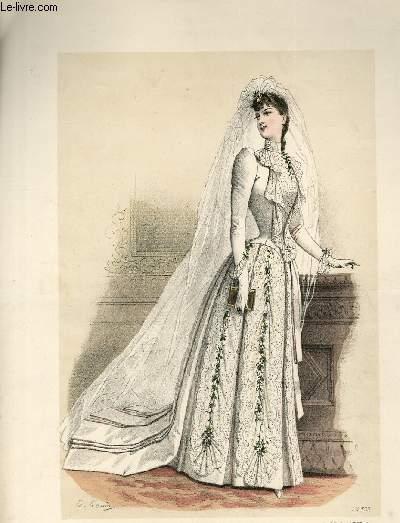 GRAVURE 19eme COULEURS - LA FRANCE ELEGANTE ET PARIS ELEGANT REUNIS - MARIEE