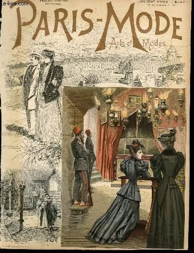 GRAVURE 19eme COULEURS- PARIS MODE ART ET MODES 6� ANNEE - N�15 - DAME ET ANGE