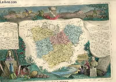 GRAVURE 19eme COULEURS - CARTE DEPARTEMENTALE DE L'EURE REHAUSSEE EN COULEURS - REGION DU NORD N°26