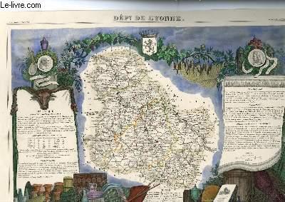 GRAVURE 19eme COULEURS - CARTE DEPARTEMENTALE DE L'YOONNE REHAUSSEE EN COULEURS -REGION DU CENTRE N°86