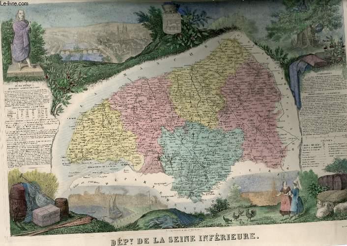 GRAVURE 19eme COULEURS - CARTE DEPARTEMENTALE DE LA  SEINE INFERIEURE REHAUSSEE EN COULEURS - REGION DU NORD N°73