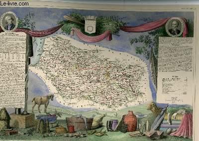 GRAVURE 19eme COULEURS - CARTE DEPARTEMENTALE DE LA SOMME REHAUSSEE EN COULEURS - REGION DU NORD N°77