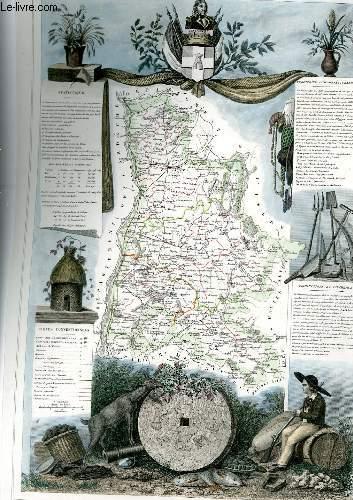 GRAVURE 19eme COULEURS - CARTE DEPARTEMENTALE DE LA DROME REHAUSSEE EN COULEURS - REGION DU SUD-EST N�26