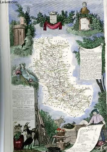 GRAVURE 19eme COULEURS - CARTE DEPARTEMENTALE DE LA LOIRE REHAUSSEE EN COULEURS - REGION DE L'EST N°41