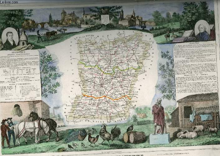 GRAVURE 19eme COULEURS - CARTE DEPARTEMENTALE DE LA MAYENNE REHAUSSEE EN COULEURS - REGION DU NORD OUEST N°52