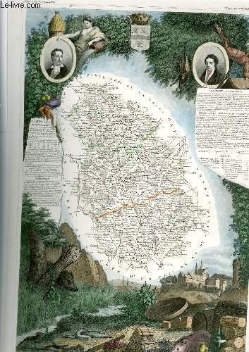 GRAVURE 19eme COULEURS - CARTE DEPARTEMENTALE DE LA HAUTE MARNE REHAUSSEE EN COULEURS - REGION DU NORD EST N°51
