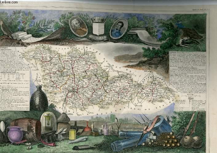 GRAVURE 19eme COULEURS - CARTE DEPARTEMENTALE DE LA MOSELLE REHAUSSEE EN COULEURS - REGION DU NORD EST N°36