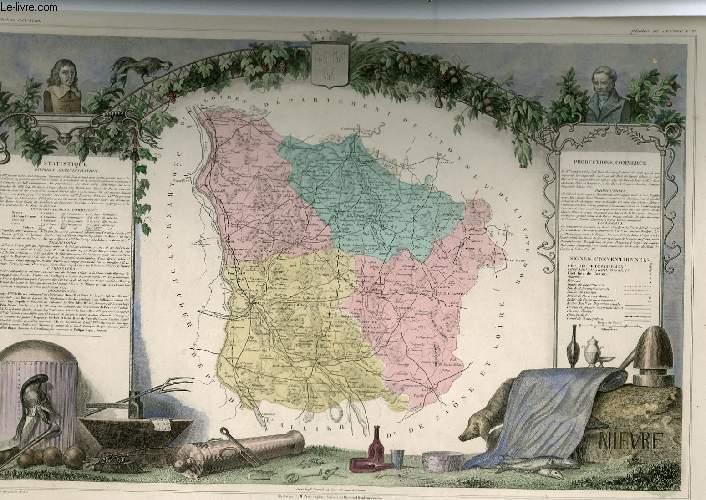 GRAVURE 19eme COULEURS - CARTE DEPARTEMENTALE DE LA NIEVRE REHAUSSEE EN COULEURS - REGION DU CENTRE N°57