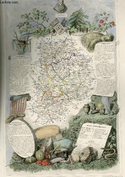 GRAVURE 19eme COULEURS - CARTE DEPARTEMENTALE DE SEINE ET MARNE REHAUSSEE EN COULEURS - REGION DU NORD N°74