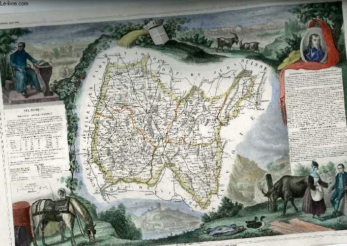 GRAVURE 19eme COULEURS - CARTE DEPARTEMENTALE DE L'AIN REHAUSSEE EN COULEURS - REGION DE L'EST N°1