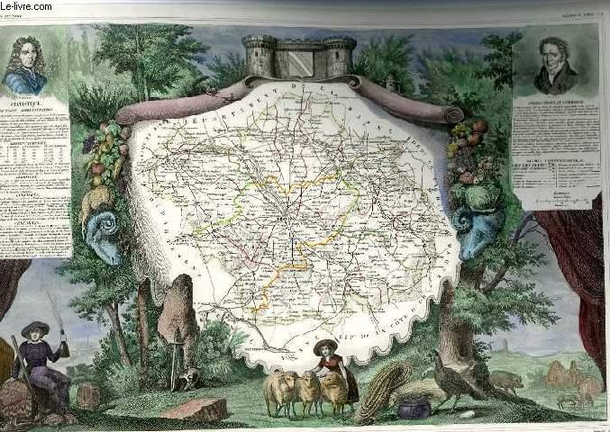 GRAVURE 19eme COULEURS - CARTE DEPARTEMENTALE DE L'AUBE REHAUSSEE EN COULEURS - REGION DU NORD N°9