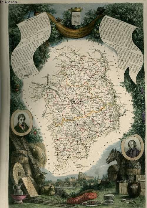 GRAVURE 19eme COULEURS - CARTE DEPARTEMENTALE DU CHER REHAUSSEE EN COULEURS - REGION DU CENTRE N°17