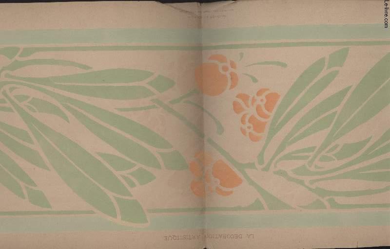 GRAVURE 19eme COULEURS - LA DECORATION ARTISTIQUE - 3° ANNEE - PLANCHE 14