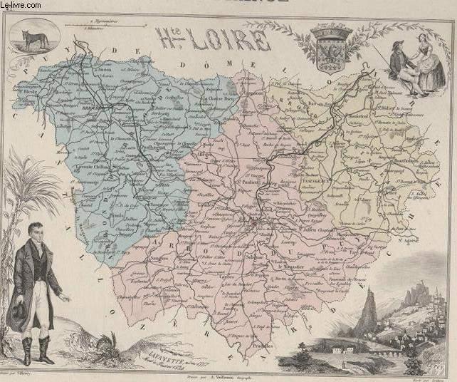 GRAVURE 19eme COULEURS - LA FRANCE - HAUTE LOIRE - PLANCHE N�42