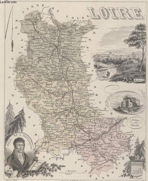 GRAVURE 19eme COULEURS - LA FRANCE - LOIRE - PLANCHE N°41