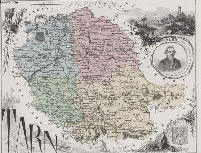 GRAVURE 19eme COULEURS - LA FRANCE - TARN - PLANCHE N�78