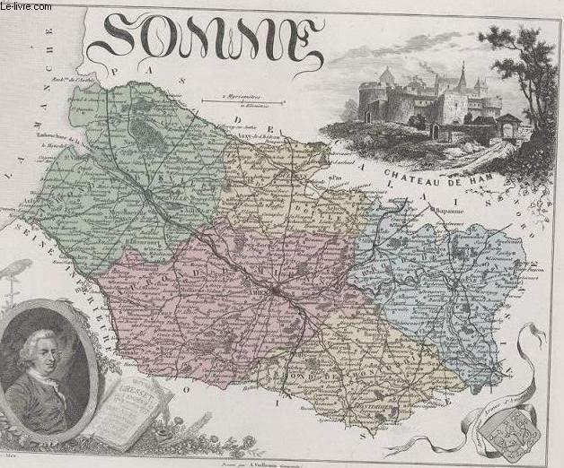 GRAVURE 19eme COULEURS - LA FRANCE - SOMME - PLANCHE N°