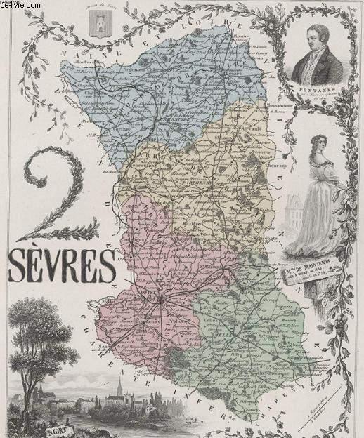 GRAVURE 19eme COULEURS - LA FRANCE - 2 SEVRES - PLANCHE N°76