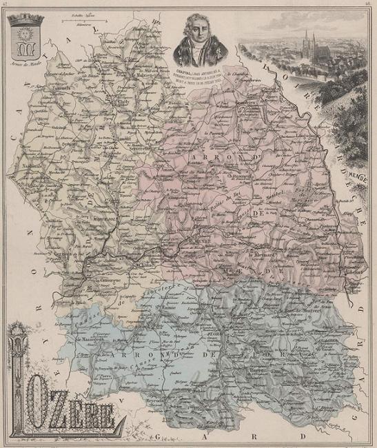 GRAVURE 19eme COULEURS - LA FRANCE - LOZERE - PLANCHE N°47