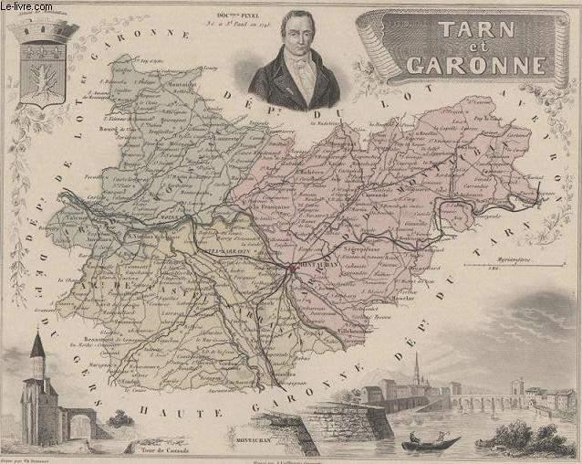 GRAVURE 19eme COULEURS - LA FRANCE - TARNE ET GARONNE - PLANCHE N°79