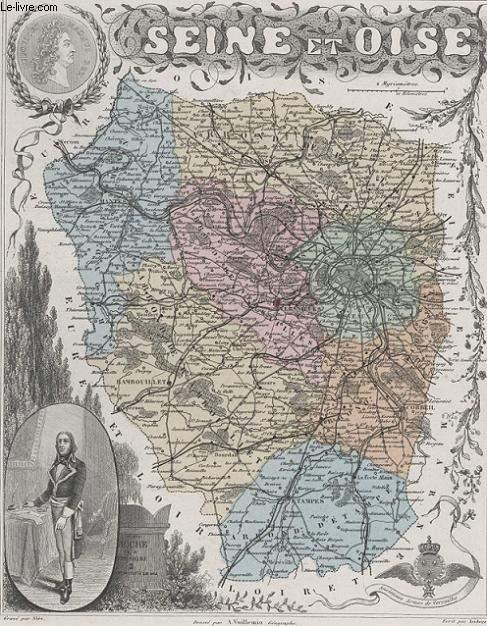 GRAVURE 19eme COULEURS - LA FRANCE - SEINE ET OISE - PLANCHE N�75
