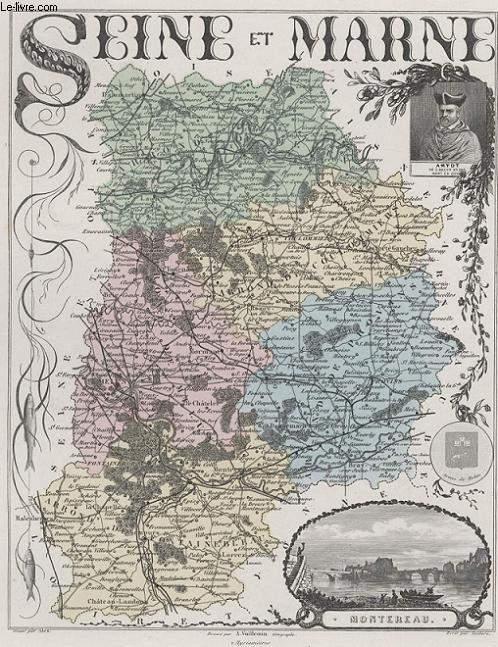GRAVURE 19eme COULEURS - LA FRANCE - SEINE ET MARNE - PLANCHE N°74